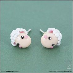 Polymer clay lamb stud earrings