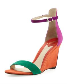 """Multicolored suede upper. Banded open toe. High-cut counter with buckled ankle strap. Leather lining and sole. 3 1/4"""" covered wedge. """"Roberta"""" is imported. Size Chart: About Brand: About B Brian Atwoo"""