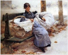 Pascal-Adolphe-Jean Dagnan-Bouveret (French, 1852 – 1929) «Laundress» 1880