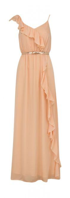 long peach dress. classy. I need a place to wear beautiful dresses