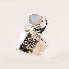 Moonstone Sterling Silver Bronze Spiral Adjustable Ring