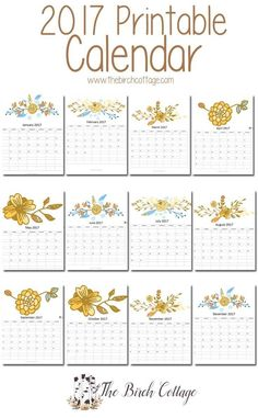 2017 Printable Monthly Calendar from The Birch Cottage available to download for free at Kenarry.com