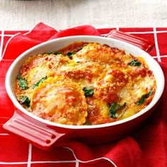 Spinach Ravioli Bake: we all like it, I used fresh ravioli though, and next time, either bake it longer or increase the heat in oven.