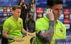 Leo Messi luce su nuevo tattoo en el brazo derecho en su reaparición públcia ante la prensa