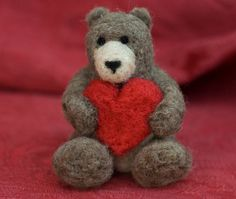 Needle Felted Bear with Heart by scratchcraft on Etsy, $26.00