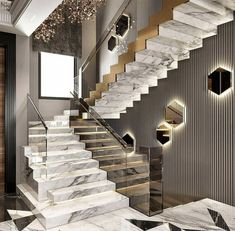 Staircase Design Modern, Luxury Staircase, Home Stairs Design, Modern Stairs, Home Interior Design, Modern Design, House Design, Design Homes, Casa Top