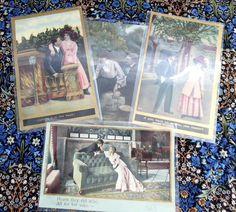 Edwardian Romance Postcards Set Of 4 Real Photos Captions Gold Metallic Accents 1900