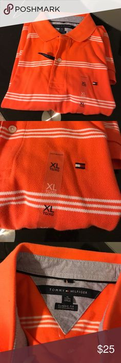 Tommy Polo Orange and white striped polo Tommy Hilfiger Shirts Polos