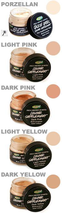 Colour Supplement: Kreier dir dein eigenes Make-up: Misch die Farben, mix sie mit deiner LUSH-Tagescreme oder benutz sie pur. Wir können nicht makellos sein, aber so aussehen!  Ich benutze es mit creme (vanishing creme), und habe dann das light pink