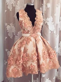 v neck homecoming dresses, homecoming dresses with appliques flowers