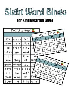 Help kids learn to read with this Kindergarten Sight Word Bingo Game - My Little Me