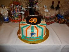 Miami Dolphins Themed 40th Birthday Cake for my fiance's birthday party - From Palermo's Bakery in Ridgefield Park, NJ