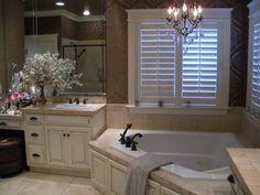 corner tub for master bath, love the white with dark accents
