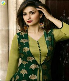This Banarasi Jacquard And Satin Green Colour Kurti Is The Fun Attire Of The Moment. Get It On and Style It With Handbag and Earrings For The Perfect Day Look. Its Party Wear and Cute - The Essentials. Salwar Designs, Kurta Designs Women, Kurti Designs Party Wear, Latest Kurti Designs, Churidar Neck Designs, Sleeves Designs For Dresses, Neck Designs For Suits, Dress Neck Designs, Chudi Neck Designs