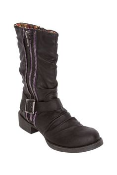 "Blowfish  Kaydon Tall Boot  I love the lilac zipper detail!  - Round toe  - Buckle ankle strap  - Double zip side closures  - Approx. 1.5"" heel  - Approx. 8.5"" shaft height, 12"" opening circumference  - Imported  MaterialsPU upper, manmade sole  $69.99"