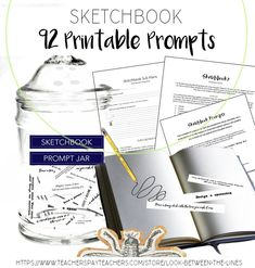 Do your student always complain about not having ideas for their sketchbooks? Next time, send them to the sketchbook prompt jar with 92 prompt options. Getting started with your sketchbook and sketchbook focused sub plans are also included. Sketchbook Prompts, Sketchbook Assignments, Art Sketchbook, High School Art, Middle School Art, Visual Art Lessons, School Levels, Composition Design, Teaching Art