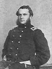 Colonel Strong Vincent, 83rd Pennsylvania Infantry, 3rd Bridgade, 1st Division, V Corps.  Mortally wounded at Little Round Top during the Battle of Gettysburg.  Promoted to Brigadier General after the battle.
