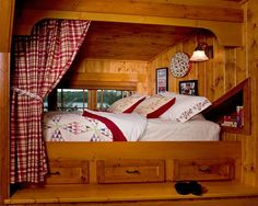 Bed Nook (eclectic bedroom by Lands End Development - Designers & Builders) Alcove Bed, Bed Nook, Bedroom Nook, Bedroom Ideas, Built In Bunks, Built In Bed, Cabin Loft, Log Cabin Homes, Cozy Cabin