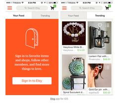 This also belongs in Sign me up board. It allows you to explore the app/shop before you have to sign up. Creative graphics, white with orange background creates the crafty vibe spot on. 4 views per screen is a nice balance, or maybe 4 journal categories?