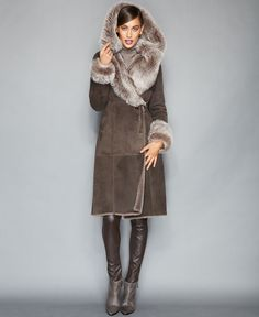 An oversized hood and collar lend extra drama to The Fur Vault's ultra-warm, totally chic Toscana shearling coat. | Real shearling lamb fur; trim: leather | Professional fur clean only | Imported | Fu