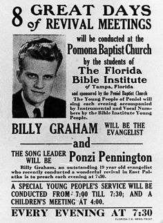Poster with young Billy Graham