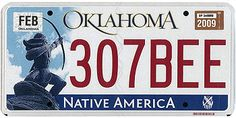 This is the official license plate for the state of Oklahoma as it has been officially adopted by the state legislature. Also known as a vehicle registration plate, it is used to identify the car and owner of a motor vehicle or trailer in the state.