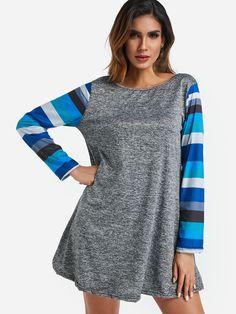 d407de4355b Grey Stripe Long Sleeves Mini Shirt Dress - US 17.95 -YOINS