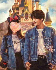 Taehyung Fanart, Jimin Fanart, Kpop Fanart, Romantic Anime Couples, Cute Couples, Bts V Girlfriend, Future Girlfriend, Boyfriend, Bts Fanfiction