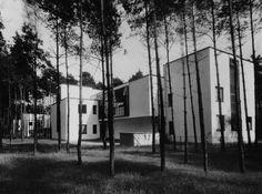 Parece idílico, sin embargo, este modernismo luminoso, blanco, de techo plano fue una provocación en el Dessau de lo años 20. En el primer plano, las casas de Kandinsky y Klee. Fotografía © Lucia Moholy-Nagy, 1927, © Bauhaus-Archiv de Berlín / VG Bild-Kunst