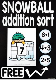 Snowball Addition Game - Practice Addition Facts to 10 1st Grade Math, Kindergarten Math, Teaching Math, Preschool, Kindergarten Addition, Teaching Ideas, Math Class, Grade 1, Addition Games