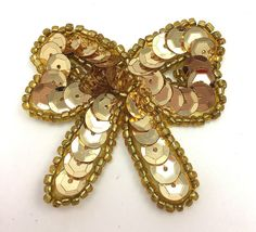 """Bow with Gold Sequins and Beads 1.75"""" x 1.5"""""""