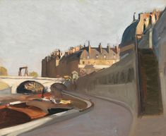 Edward HOPPER Quai des Grands Augustins, Paris 1909 Whitney Museum of American Art, New York city American Realism, American Artists, Manet, Toulouse, Edward Hopper Paintings, Ashcan School, Most Famous Artists, Johannes Vermeer, Whitney Museum