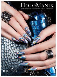 Metal Manix by Indigo Educator Paulina Walaszczyk, Lodz #nails #nail #indigo #metalmanix #holo #effect #mirror #metal #chrome #silver #hot #new #wow