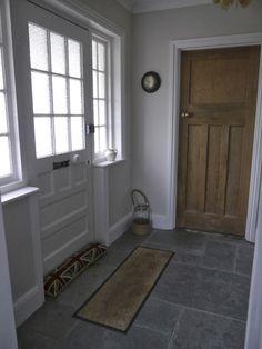 BACK DOOR Dulux nutmeg white walls + slate tile floor White Hallway, Tiled Hallway, White Walls, Cream Hallway, Entryway Tile Floor, Entryway Stairs, Entryway Ideas, Hallway Ideas, Hall Flooring