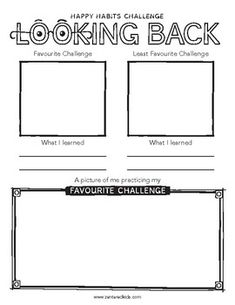 Happy Habits Challenge: Looking Back Printable Inspiration For Kids, Looking Back, Prompts, Reflection, Acting, Challenges, Success, Printables, Positivity