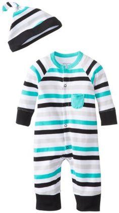 Offspring - Baby Apparel Baby-Boys Newborn Zebra Stripe Coverall and Hat, Multi…