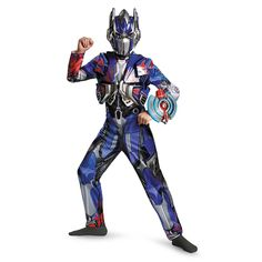 Disguise Hasbro Transformers Age of Extinction Movie Optimus Prime Deluxe Boys Costume, Small/4-6. Quality materials used to make Disguise products. Fun, Colorful, Inventive designs to put you in the world of role play. Whether it's Halloween, birthday parties, or even a fun filled night, disguise is good for everything!. Jumpsuit with vacuform chest piece. Character mask. Optimus Prime toy shield. Official Hasbro Licensed Costume.