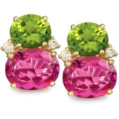 Pink Topaz and Peridot Fruit Gem Earrings ($6,950) ❤ liked on Polyvore featuring jewelry, earrings, orecchini, peridot jewellery, gem jewelry, 18 karat gold earrings, gemstone jewellery and pink topaz jewelry