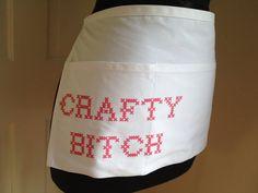 Crafty Bitch Craft Apron with Pockets on Etsy, $20.00