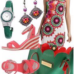 Che carica di colore questo outfit da giorno, vestito Desigual multicolor, borsa con bordo smerlato, super capiente, verde con l'interno corallo, orecchini che riprendono vagamente la stampa dell'abito, orologio verde e zeppe Replay corallo.