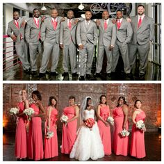 nigerian wedding ceremony coral and grey bridesmaids and groomsmen suit milanes photography