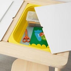 IKEA - FLISAT, Children's table, This children's desk becomes both a practical place for arts and crafts, as well as a useful storage solution, if completed with TROFAST storage boxes in different sizes and colors. Use with TROFAST storage box. Ikea Montessori, Playroom Table, Playroom Storage, Lego Table Ikea, Playroom Rug, Playroom Ideas, Kids Craft Tables, Kid Table, Toddler Art Table