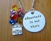 UP Inspired Necklace. Adventure is out there! House w/ balloons UP necklace. Swarovski crystals. Hand Stamped UP necklace. Ellie & Carl