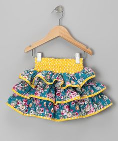 Take a look at this Yellow & Blue Floral Ruffle Skirt - Toddler & Girls by Lele Vintage on #zulily today!