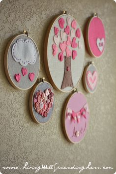Valentine's Day embroidery hoop art--cute & easy craft project to do with kids.