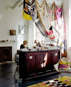 Make curtains from vintage scarves. Create your own patterns with stencils and fabric paint on plain silk scarves. studio, office spaces,  curtain, vintag scarv, silk scarves, home offices
