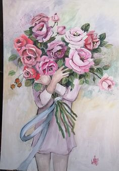 pink roses by Wilma Potgieter South African Artists, Girls With Flowers, Pink Roses, Painting & Drawing, Cookie, Paintings, Drawings, Crochet, Biscuit
