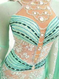 cyan mint green lace applique bodice design