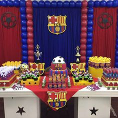 (49) Facebook Soccer Birthday Parties, Football Birthday, Sports Birthday, 14th Birthday, Bolo Do Barcelona, Barcelona Soccer Party, Baby Party, Childrens Party, Party Themes