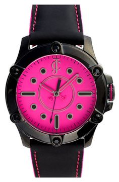 Juicy Couture 'Surfside' Round Leather Strap Watch